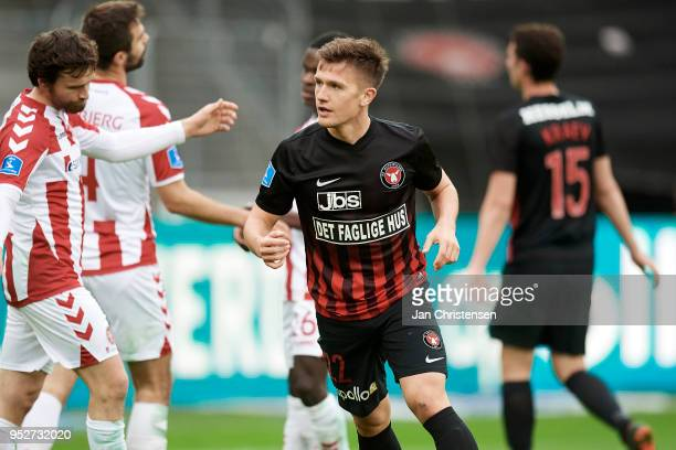Mikkel Duelund of FC Midtjylland celebrate after his 30 goal during the Danish Alka Superliga match between FC Midtjylland and AaB Aalborg at MCH...