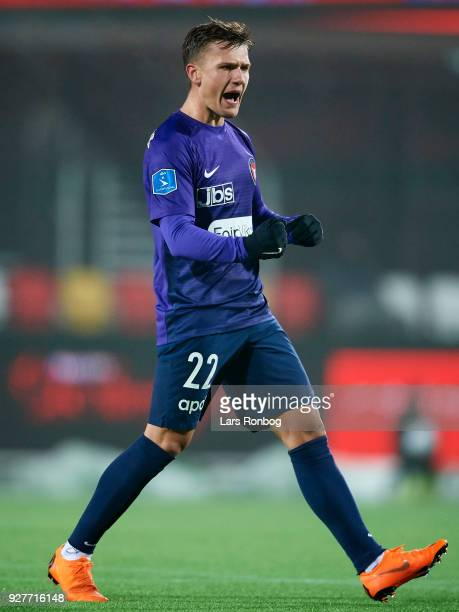 Mikkel Duelund of FC Midtjylland celebrates after scoring their second goal during the Danish Alka Superliga match between Silkeborg IF and FC...