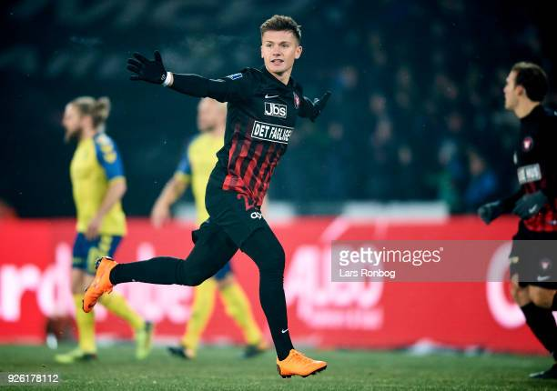 Mikkel Duelund of FC Midtjylland celebrates but goal cancelled for offside during the Danish Alka Superliga match between FC Midtjylland and Brondby...