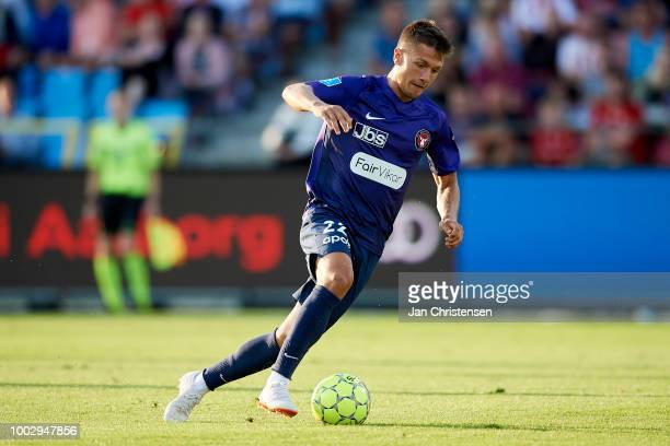 Mikkel Duelund of FC Midtjylland controls the ball during the Danish Superliga match between AaB Aalborg and FC Midtjylland at Aalborg Portland Park...