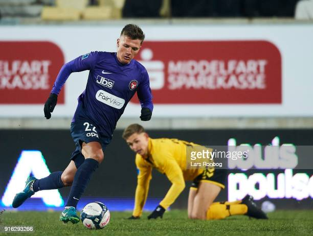 Mikkel Duelund of FC Midtjylland controls the ball during the Danish Alka Superliga match between AC Horsens and FC Midtjylland at CASA Arena Horsens...