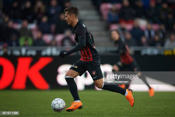 Mikkel Duelund of FC Midtjylland controls the ball during the Danish Alka Superliga match between FC Midtjylland and FC Copenhagen at MCH Arena on...