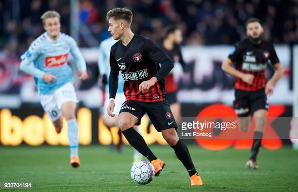 Mikkel Duelund of FC Midtjylland controls the ball during the Danish Alka Superliga match between FC Midtjylland and Sonderjyske at MCH Arena on...