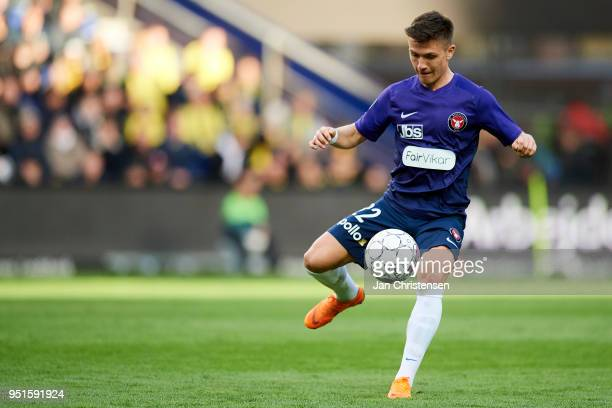Mikkel Duelund of FC Midtjylland controls the ball during the Danish DBU Pokalen Cup Semifinal match between Brondby IF and FC Midtjylland at Brondby...