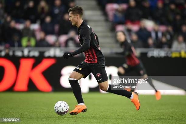 Mikkel Duelund of FC Midtjylland in action during the Danish Alka Superliga match between FC Midtjylland and FC Copenhagen at MCH Arena on February...