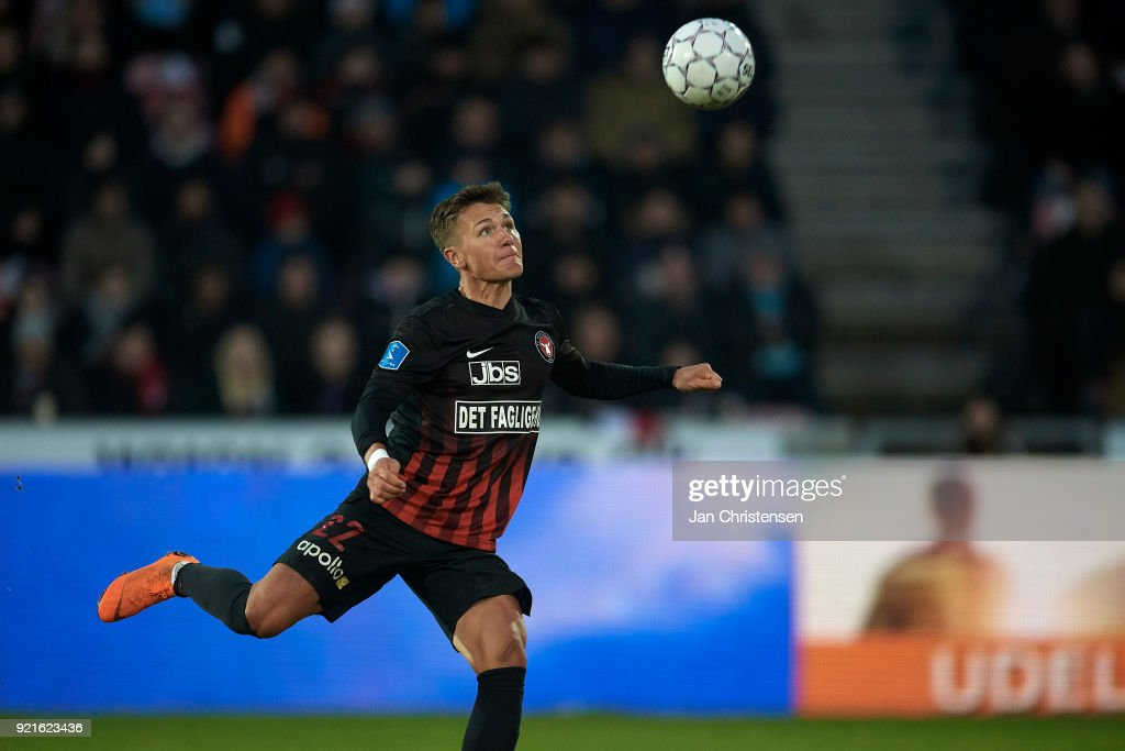 Mikkel Duelund of FC Midtjylland in action during the Danish Alka Superliga match between FC Midtjylland and FC Copenhagen at MCH Arena on February 18, 2018 in Herning Denmark.