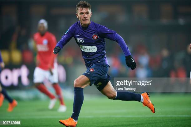 Mikkel Duelund of FC Midtjylland in action during the Danish Alka Superliga match between Silkeborg IF and FC Midtjylland at JYSK Park on March 5...