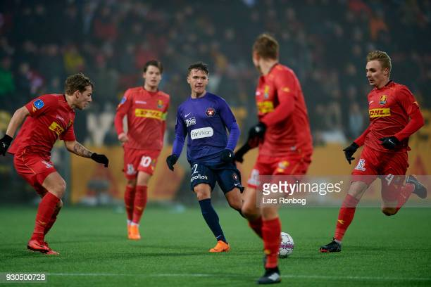 Mikkel Duelund of FC Midtjylland in action during the Danish Alka Superliga match between FC Nordsjalland and FC Midtjylland at Right to Dream Park...