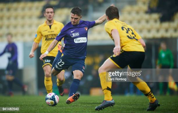 Mikkel Duelund of FC Midtjylland in action during the Danish Alka Superliga match between AC Horsens and FC Midtjylland at CASA Arena Horsenas on...