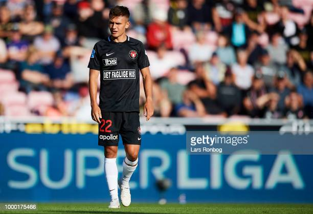 Mikkel Duelund of FC Midtjylland in action during the Danish Superliga match between FC Midtjylland and AGF Aarhus at MCH Arena on July 14 2018 in...