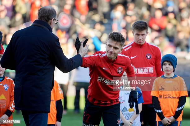 Mikkel Duelund of FC Midtjylland prior to the Danish Alka Superliga match between FC Midtjylland and Sonderjyske at MCH Arena on March 18 2018 in...