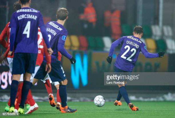 Mikkel Duelund of FC Midtjylland scores the 20 goal during the Danish Alka Superliga match between Silkeborg IF and FC Midtjylland at JYSK Park on...