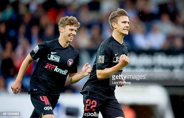 Mikkel Duelund of Midtjylland celebrates after scoring their first goal during the Danish Alka Superliga match between Sonderjyske and FC Midtjylland...