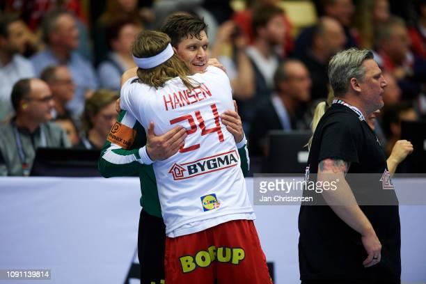 Mikkel Hansen of Denmark and Goalkeeper Niklas Landin of Denmark celebrate during the IHF Men's World Championships Handball Final between Denmark...