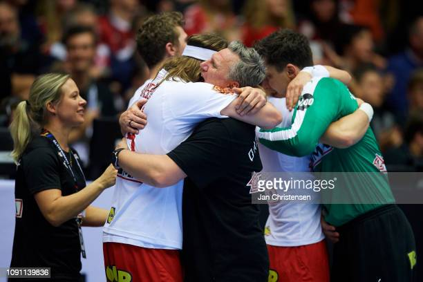 Mikkel Hansen of Denmark and Nikolaj Jacobsen, head coach of Denmark celebrate during the IHF Men's World Championships Handball Final between...