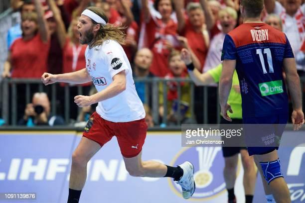 Mikkel Hansen of Denmark celebrate after goal during the IHF Men's World Championships Handball Final between Denmark and Norway in Jyske Bank Boxen...