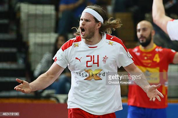 Mikkel Hansen of Denmark celebrates a goal during the quarter final match between Spain and Denmark at Lusail Multipurpose Hall on January 28 2015 in...