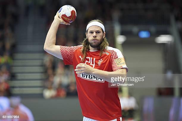 Mikkel Hansen of Denmark in action during the BYGMA Cup 2017 match between Denmark and Egypt at Skjern Bank Arena on January 06 2017 in Skjern Denmark