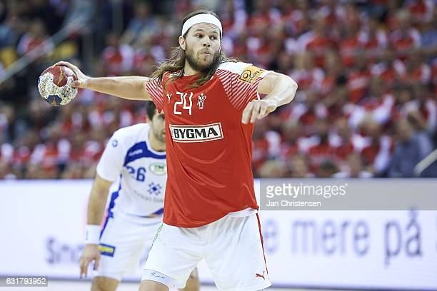 Mikkel Hansen of Denmark in action during the BYGMA Cup 2017 match between Denmark and Island at Ceres Arena on January 08 2017 in Arhus Denmark