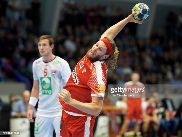 Mikkel Hansen of Denmark in action during the BYGMA Golden League match between Denmark and Norway in Brondby Hallen on October 26 2017 in Brondby...