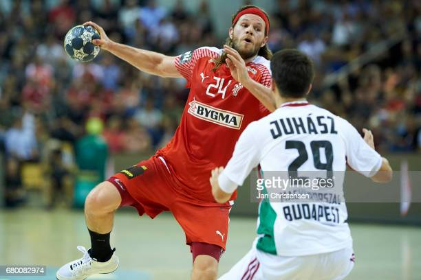 Mikkel Hansen of Denmark in action during the European Championship Croatia 2018 Playoff match between Denmark and Hungary at Ceres Arena on May 07...