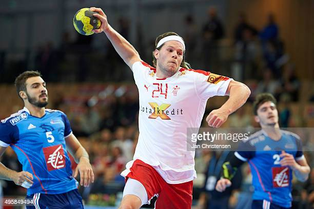 Mikkel Hansen of Denmark in action during the Golden League match between Denmark and France in Nadderud Arena on November 05 2015 in Oslo Norway