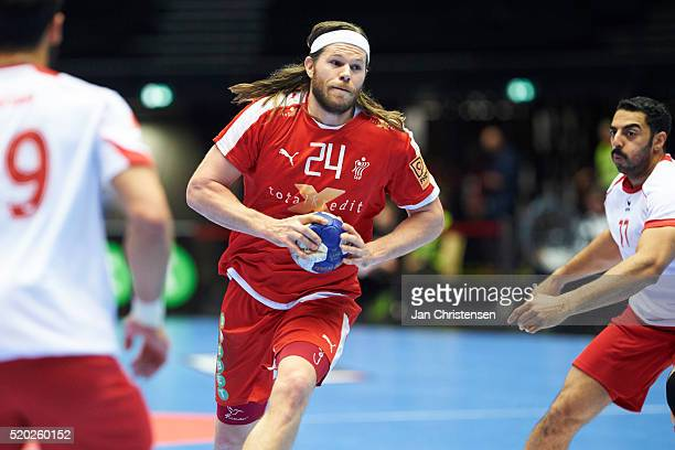 Mikkel Hansen of Denmark in action during the IHF 2016 Men's Olympic Qualification Tournament match between Denmark and Bahrain at Jyske Bank Boxen...