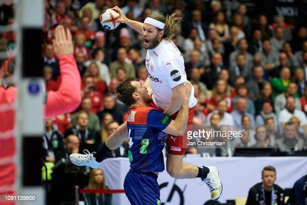 Mikkel Hansen of Denmark in action during the IHF Men's World Championships Handball Final between Denmark and Norway in Jyske Bank Boxen on January...
