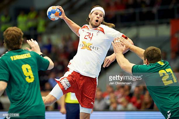 Mikkel Hansen of Denmark in action during the MEN'S EHF EURO 2016 POLAND qualification between Denmark and Lithuania in Brondbyhallen on oktober 30...