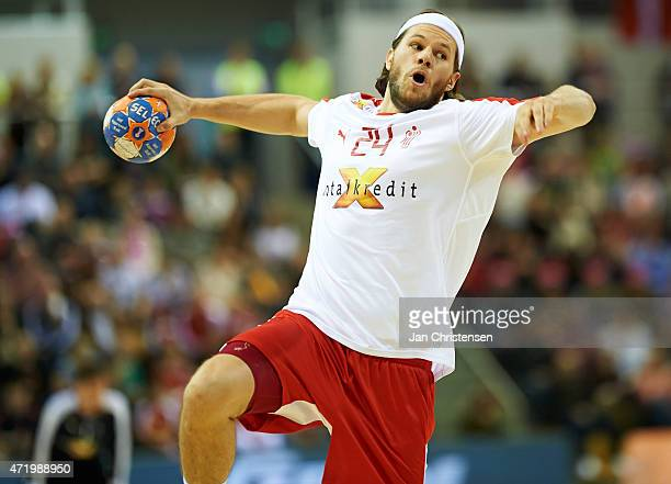 Mikkel Hansen of Denmark in action during the MEN'S EHF EURO 2016 POLAND qualification between Denmark and Belarus in NRGIi Arena on May 02 2015 in...