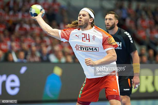 Mikkel Hansen of Denmark in action during the World Championship France 2017 Playoff match between Denmark and Holland at Brondby Hallen on November...