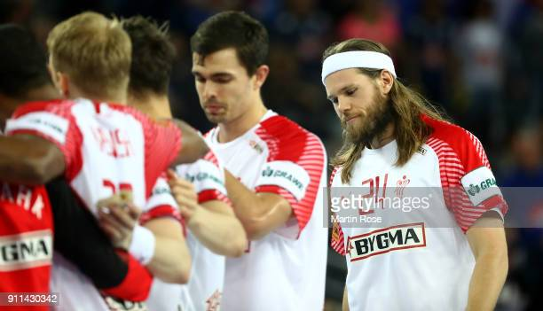 Mikkel Hansen of Denmark looks dejected after the Men's Handball European Championship 3rd place match between France and Denmark at Arena Zagreb on...
