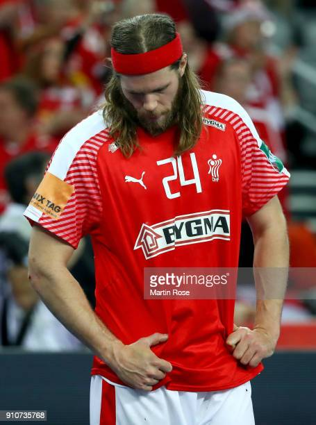 Mikkel Hansen of Denmark looks dejected after the Men's Handball European Championship semi final match between Denmark and Sweden at Arena Zagreb on...