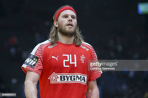 Mikkel Hansen of Denmark looks on after the 25th IHF Men's World Championship 2017 match between Denmark and Sweden at Accorhotels Arena on January...