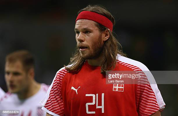 Mikkel Hansen of Denmark looks on during the Mens Preliminary Group A match between Denmark and Croatia at Future Arena on August 11 2016 in Rio de...