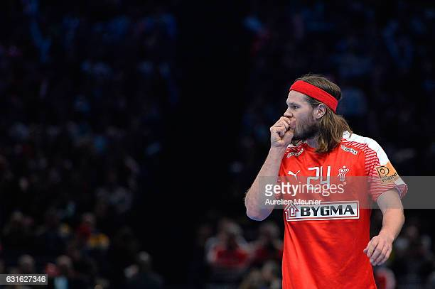 Mikkel Hansen of Denmark reacts during the 25th IHF Men's World Championship 2017 match between Denmark and Argentina at Accorhotels Arena on January...