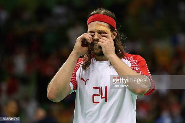 Mikkel Hansen of Denmark reacts during the second half in the Men's Gold Medal Match between Denmark and France on Day 16 of the Rio 2016 Olympic...
