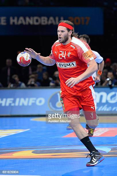 Mikkel Hansen of Denmark runs with the ball during the 25th IHF Men's World Championship 2017 match between Denmark and Argentina at Accorhotels...