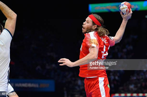 Mikkel Hansen of Denmark shoots during the 25th IHF Men's World Championship 2017 match between Denmark and Argentina at Accorhotels Arena on January...