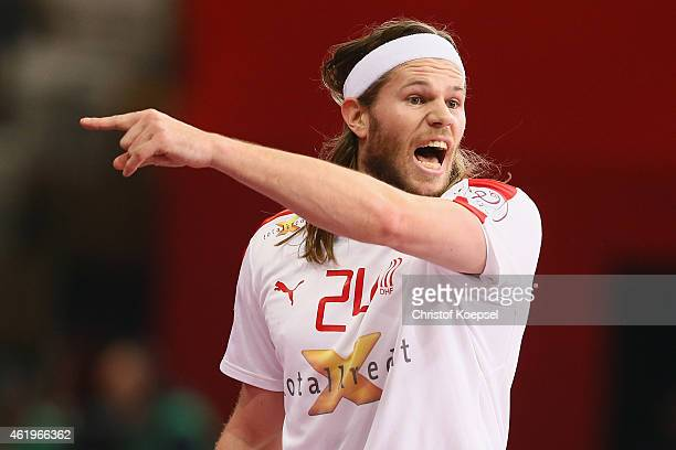 Mikkel Hansen of Denmark shouts during the IHF Men's Handball World Championship group D match between Russia and Denmark at Lusail Multipurpose Hall...