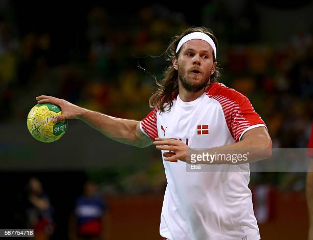 Mikkel Hansen of Denmark takes a shot in the first half against Tunisia on Day 4 of the Rio 2016 Olympic Games at the Future Arena on August 9 2016...