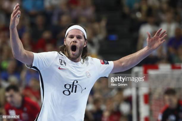 Mikkel Hansen of Paris celebrates a goal during the VELUX EHF FINAL4 Semi Final between Telekom Veszprem and Paris SaintGermain Handball at Lanxess...