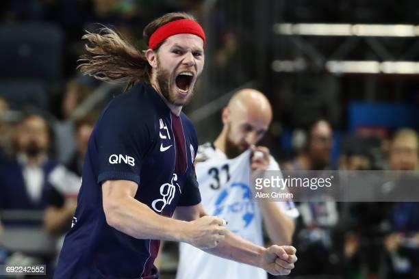 Mikkel Hansen of Paris celebrates a goal during the VELUX EHF FINAL4 final between Paris SaintGermain Handball and HC Vardar at Lanxess Arena on June...