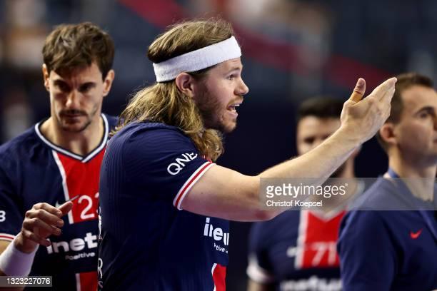 Mikkel Hansen of Paris Saint-Germain reacts during the VELUX EHF Champions League FINAL4 semi-final between Aalborg Handbold v Paris Saint-Germain at...
