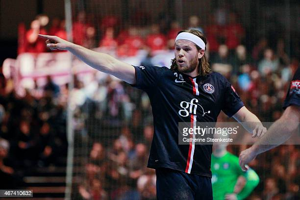 Mikkel Hansen of PSG Handball is calling a play during the last 16 VELUX EHF Champions League game between PSG Handball and Dunkerque HB Grand...