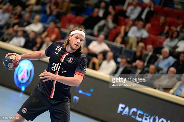 Mikkel Hansen of PSG in action during the Division 1 handball game between Paris Saint Germain and Creteil at Stade Pierre de Coubertin on April 22...