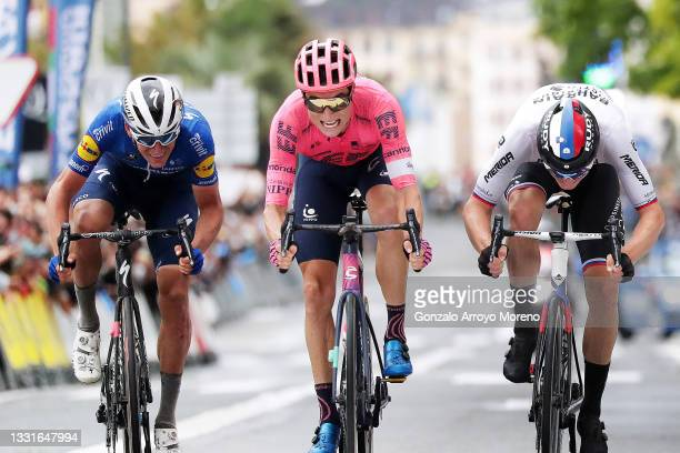 Mikkel Honoré of Denmark and Team Deceuninck - Quick-Step, Neilson Powless of United States and Team EF Education - Nippo & Matej Mohoric of Slovenia...