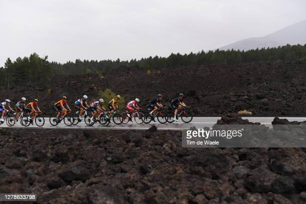 Mikkel Honore of Denmark and Team Deceuninck QuickStep / Francois Bidard of France and Team Ag2R La Mondiale / Enrico Battaglin of Italy and Team...