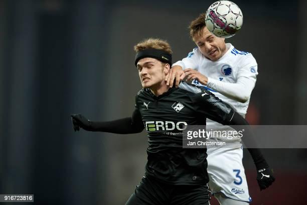 Mikkel Kallesoe of Randers FC and Pierre Bengtsson of FC Copenhagen compete for the ball during the Danish Alka Superliga match between FC Copenhagen...