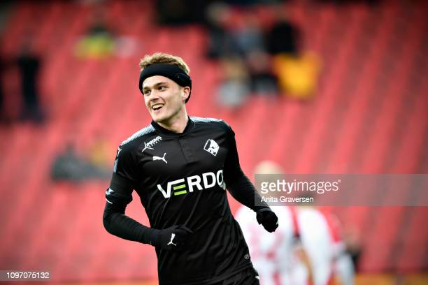 Mikkel Kallesoe of Randers FC celebrates after scoring their first goal during the Danish Superliga match between AaB Aalborg and Randers FC at...